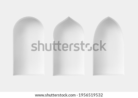 Set of 3d Arabic style windows. Architectural design elements for muslim holidays. Realistic minimal style. Vector illustration.