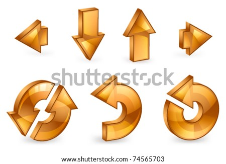 Set of 3D arrows on a white background
