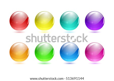 set of 3d ball button icon for