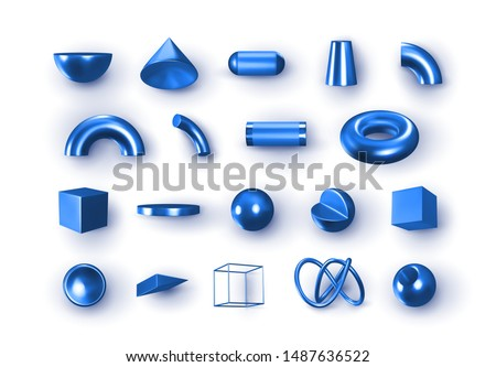 set of 3d blue geometric shapes