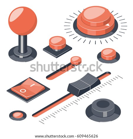 Set of 3D buttons switches regulators isolated on white background. Isometric vector illustration