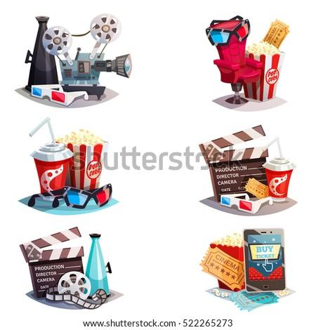 set of 3d cartoon cinema design