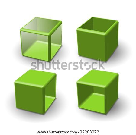 Set of 3d cube. Vector illustration.