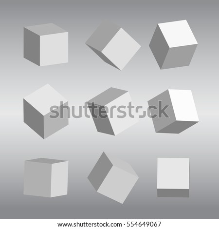 Set of 3D cubes vector