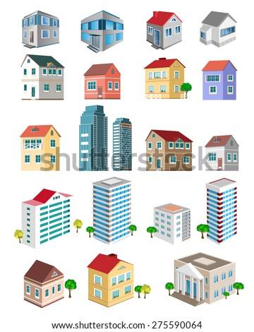 set of 3d detailed buildings