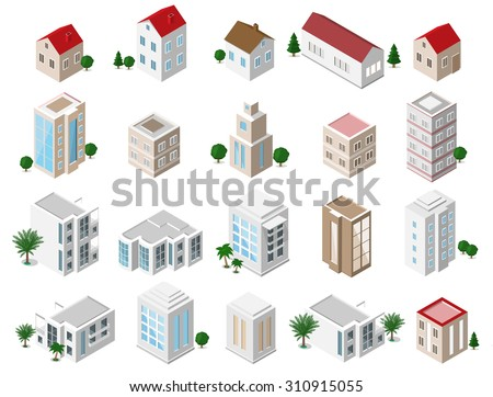 set of 3d detailed isometric