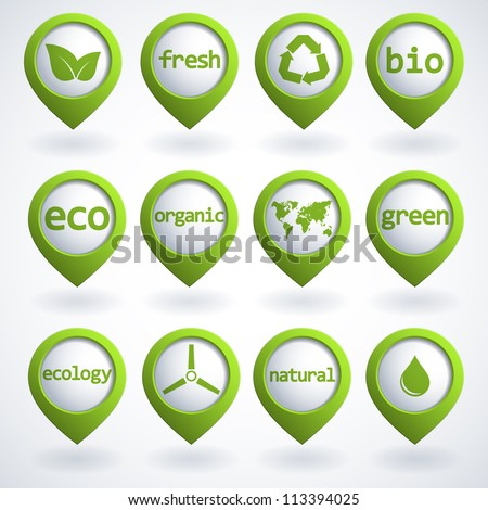 Set of 3d ecology buttons. Vector illustration.