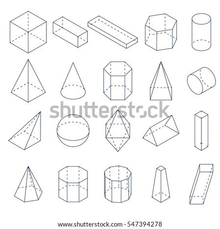 Set of 3D geometric shapes. Isometric views. The science of geometry and math. Linear objects isolated on white background. Outline. Vector illustration.