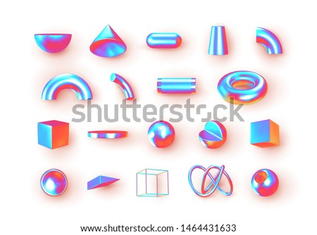 Set of 3d geometric shapes objects. Realistic geometry elements isolated on white background, on metallic holographic color gradient. Render Decorative figure for design. vector illustration