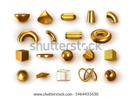 Set of 3d Golden Geometric Shapes Objects. Realistic geometry elements isolated on white background, on metallic color gradient. Render Decorative gold figure for design. vector illustration
