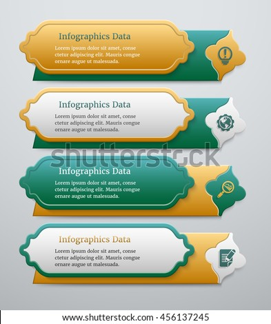 Set of 3d green and golden banners template with islamic design