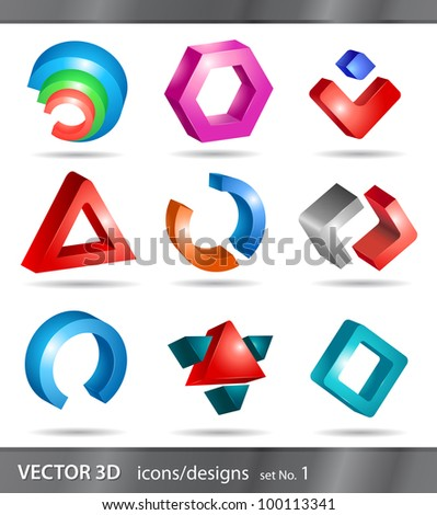 set of 3d icons or abstract designs