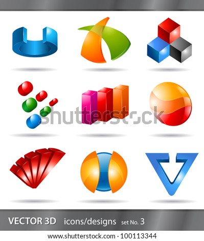set of 3d icons or abstract designs - stock vector