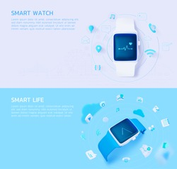set of 3d illustration concept for smart watch and smart life surrounded by 3d and thin-line icon,isolated on bright grey and bright blue.