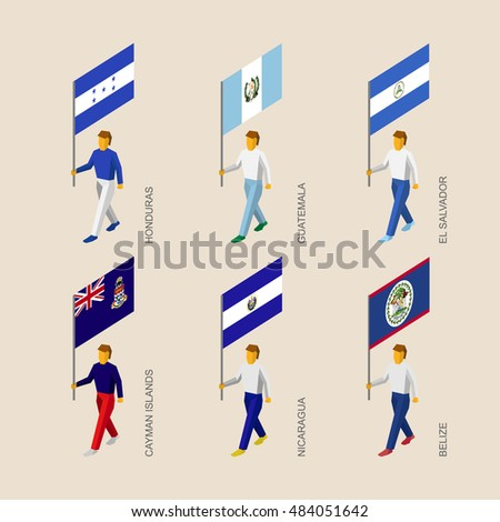 set of 3d isometric people with