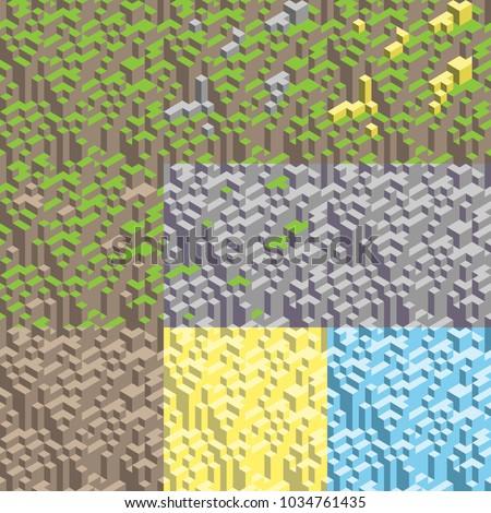 set of 9 3d isometric seamless