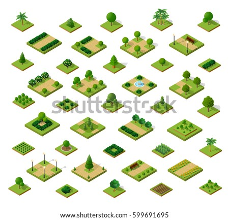 set of 3d isometric urban parks