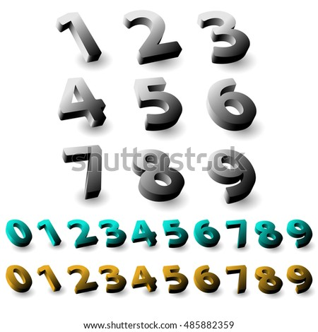 Set of 3d numbers. Isolated font on white background #485882359