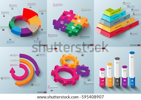 Set of 3d paper infographic elements data visualization vector design template. Business concept steps or processes, workflow, diagram, hexagon, box, pyramid, gear, marketing icons, info graphics.