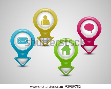 Set of 3D pointers-email,home,profile,chat icons-vector