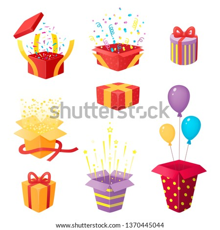 Set of 3d prize boxes with confetti, stars and tinsel. Opened and closed surprises with ribbons. Gifts and party explosions. Vector illustration, cartoon 3d style.