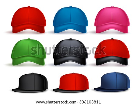 87dfc7edad9c7 Set of 3D Realistic Baseball Caps for Men and Women with Variety of Colors  Isolated in
