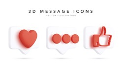 Set of 3d realistic bubbles with social media and digital marketing icons. Vector illustration