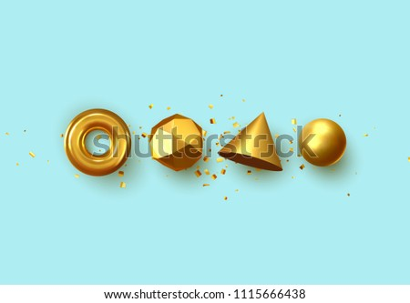 Set of 3d realistic elements isolated on blue background. Spheres, torus, cones and other geometric shapes. gold colors for trendy designs. #1115666438