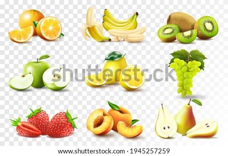 Set of 3d realistic juicy fruits apple, banana, orange, lemon, grapes., peach, strawberry, pear, kiwi. Whole and halved fruits, fruit wedges. High quality vector image isolated on transparent backgrou