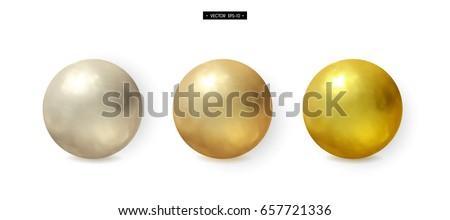 set of 3d realistic metal balls