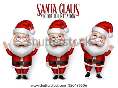 Set Of 3d Realistic Santa Claus Cartoon Character For Christmas Saying Hello ...