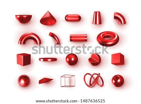 set of 3d red geometric shapes