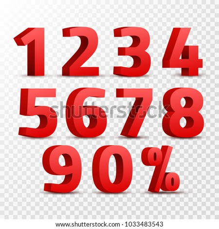 Set of 3D red numbers sign. 3D number symbol with percent discount design isolated.