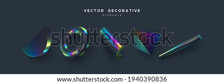 Set of 3d render primitives. Realistic 3d sphere, torus, cone, cube, tube. Glossy holographic geometric shapes isolated on dark background. Iridescent trendy design, thin film effect. Vector.