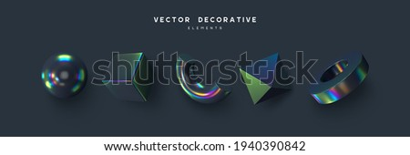 Set of 3d render primitives. Realistic 3d sphere, torus, cone, cube, tube. Glossy holographic geometric shapes isolated on dark background. Iridescent trendy design, thin film effect. Vector. Сток-фото ©