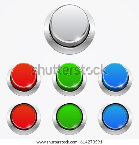 Set of 3d round web buttons In the pressed and not pressed position, isolated on white