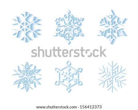 Set of 3D snowflakes