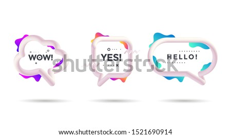 Set of 3d talking cloud with decorative gradients shapes. Isolated speech bubble talk with text Wow, Yes, Hello. Sticker for social network. Vector template