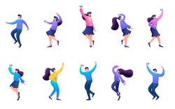 Set of 2D Teens listening to music with headphones, dance to music, rejoice, love music, mobile app