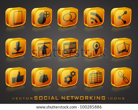 Set of 3D web 2.0 icons for web applications, Internet & website icons and social networking icons or buttons in yellow color on grey background. EPS 10. Vector illustration.