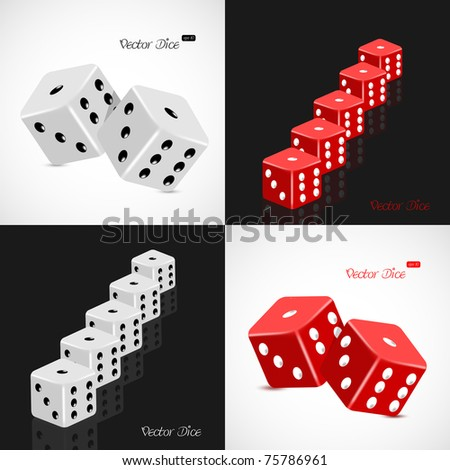 Set of 3D white and red dice vector illustration