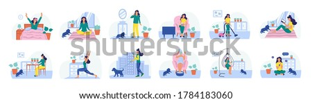 Set of daily routines. The concept of daily life, everyday leisure and work activities. Flat vector illustration. Stock photo ©
