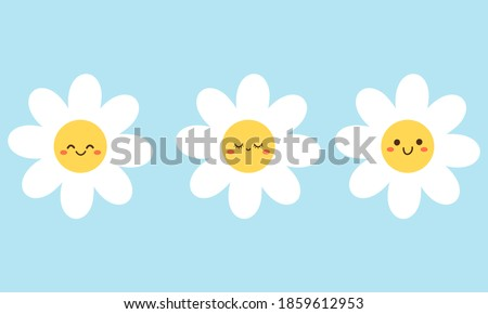 set of daisy flower with cute
