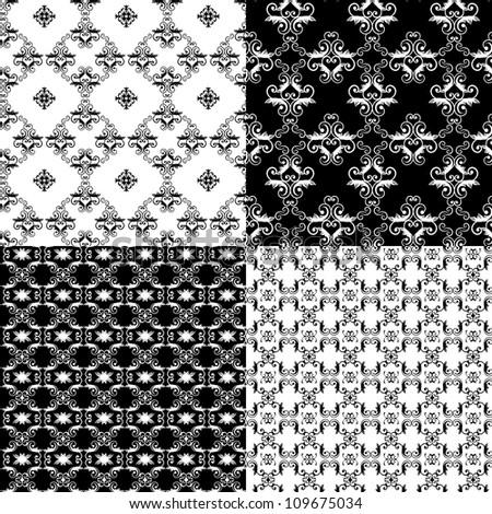 Set of Damask seamless floral pattern background