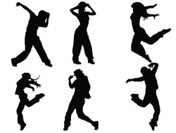 Set of dancers silhouette