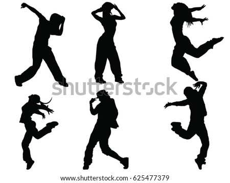 set of dancers silhouette
