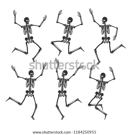 Set of dancing and jumping skeletons. Happy Halloween. 6 black silhouettes isolated on white background. Vector illustration