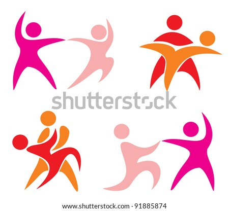 set of dancing couple icons in simple figures. part 1