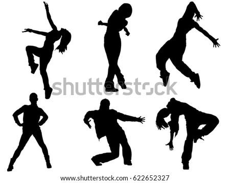 set of dancing female