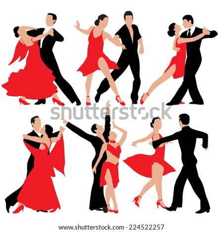 set of dancing people
